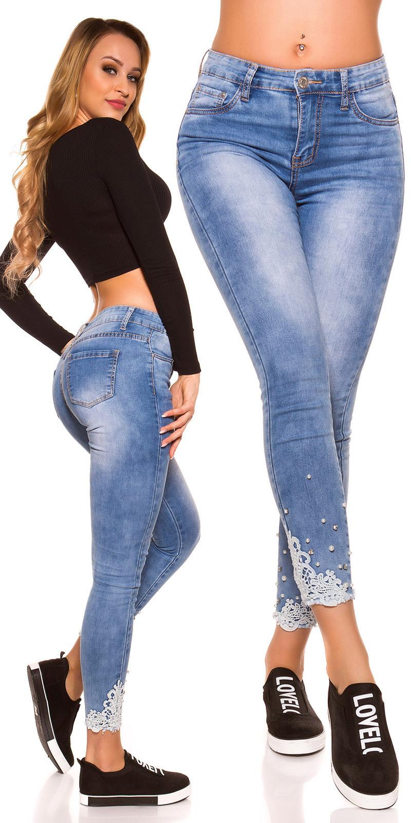 Sexy High Waist Skinny Jeans w. Lace, rhinestones Jeansblue