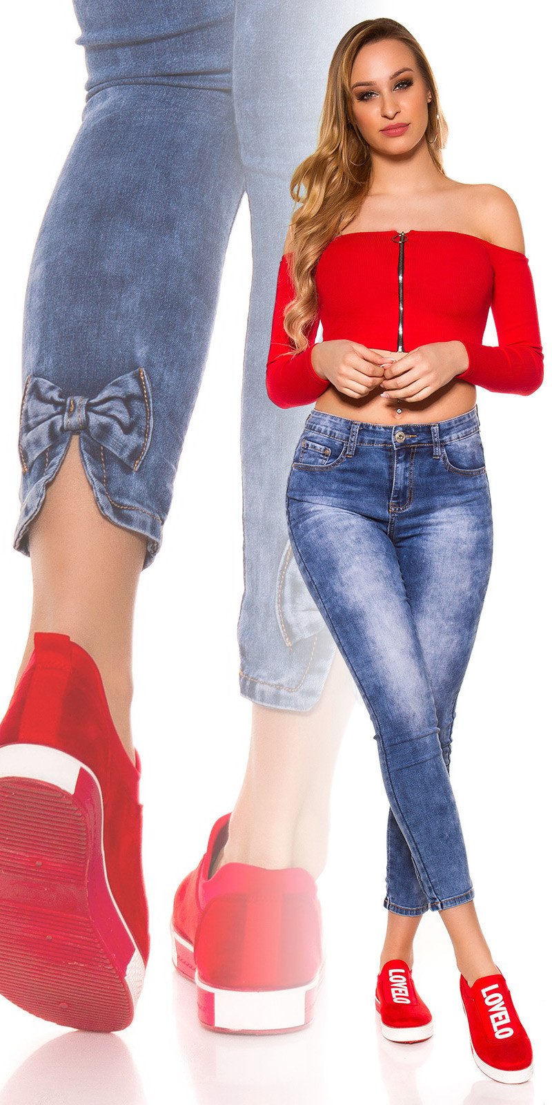 Sexy high waist skinny jeans with bows Jeansblue