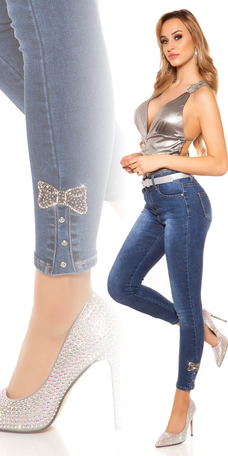 Sexy skinny high waist jeans with glittery bow Jeansblue