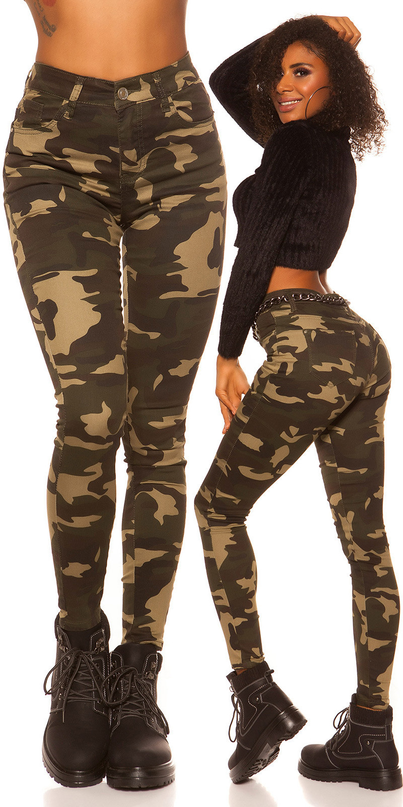 Sexy High Waist Skinny Jeans Camouflage Army