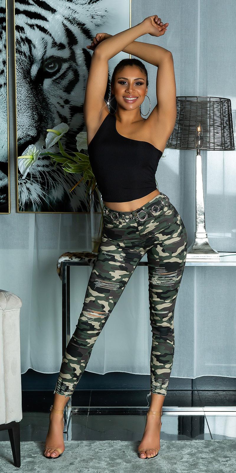 Trendy camouflage skinny jeans gebruikte used look camouflage
