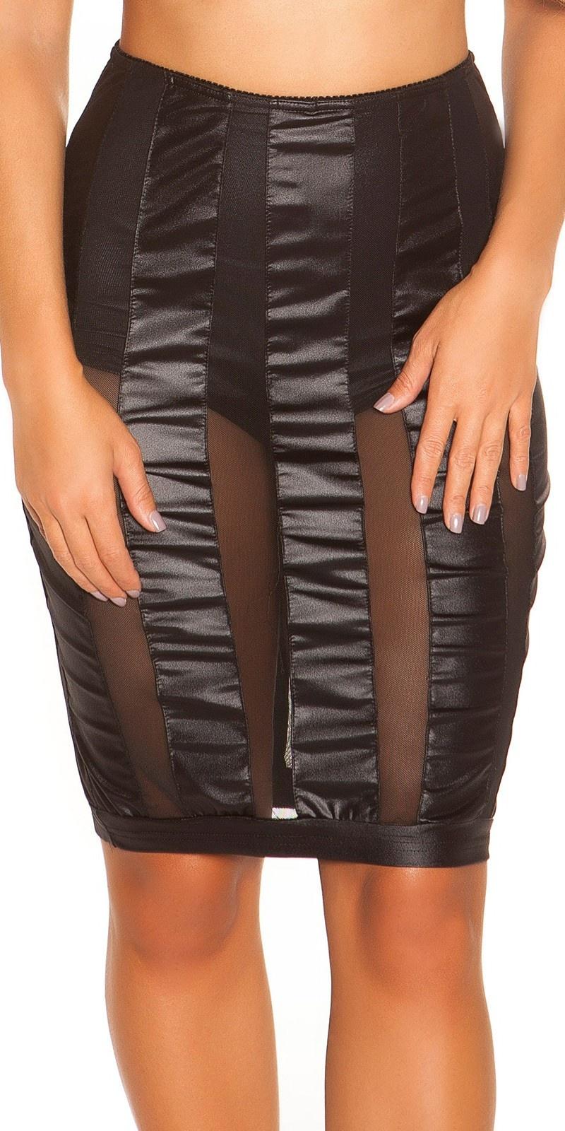 Sexy wetlook-mini rokje met gaasstof zwart