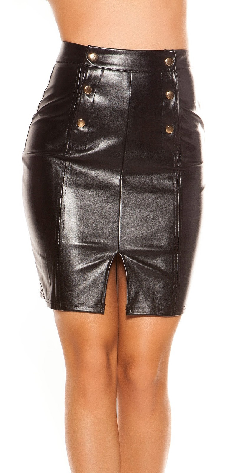 Sexy Leatherer look miniskirt Highwaist Black