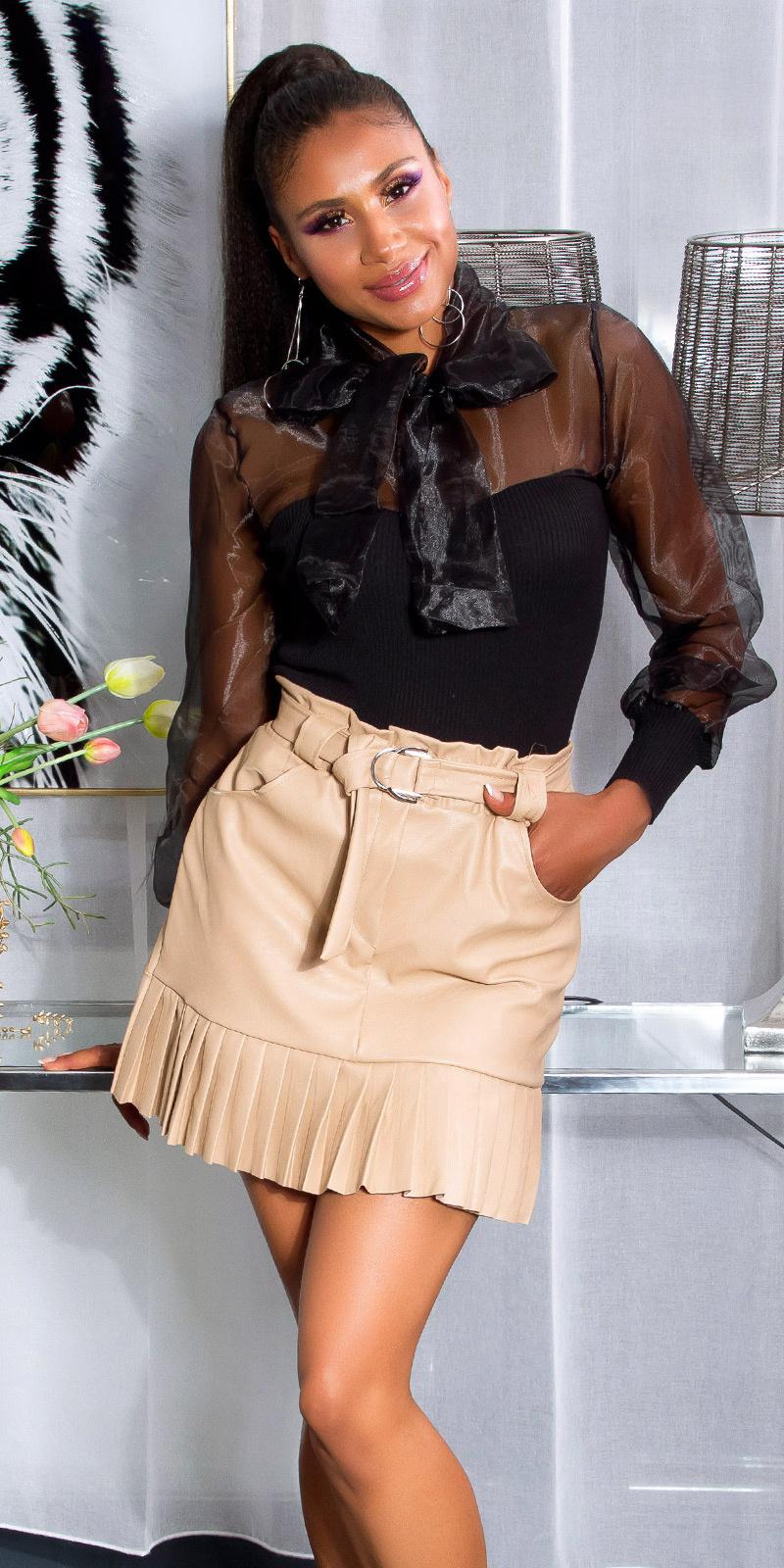 Sexy fashionista hoge taille lederlook rok beige