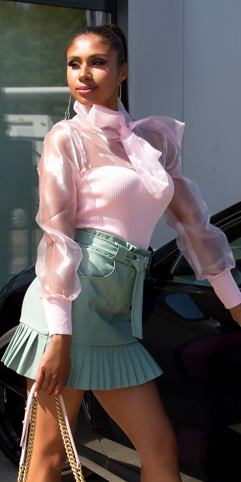 Sexy fashionista hoge taille lederlook rok khaki