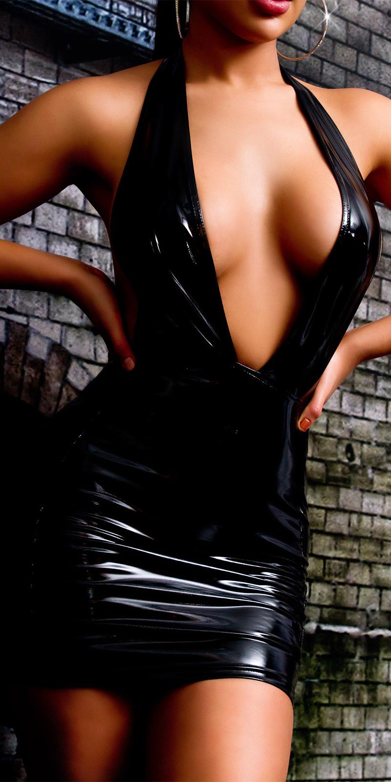 Sexy latex look diepe v-hals mini jurkje zwart