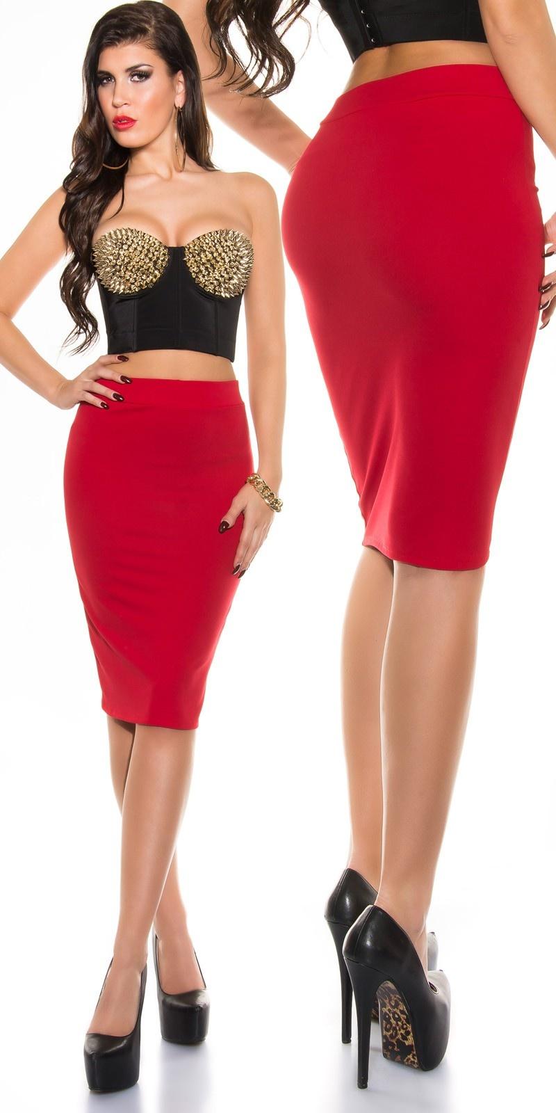Sexy KouCla pencil skirt Red