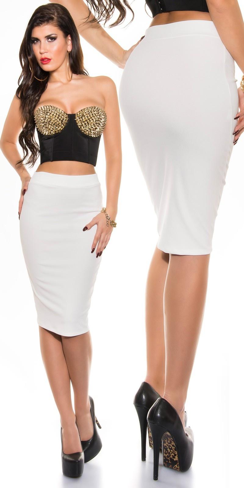 Sexy KouCla pencil skirt White