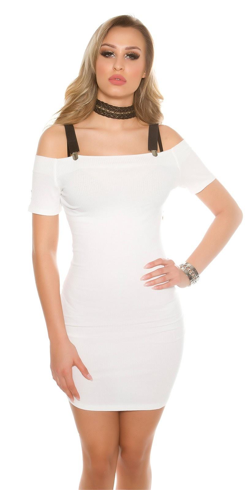 Sexy ripp Off shoulder mini dress removabel straps White