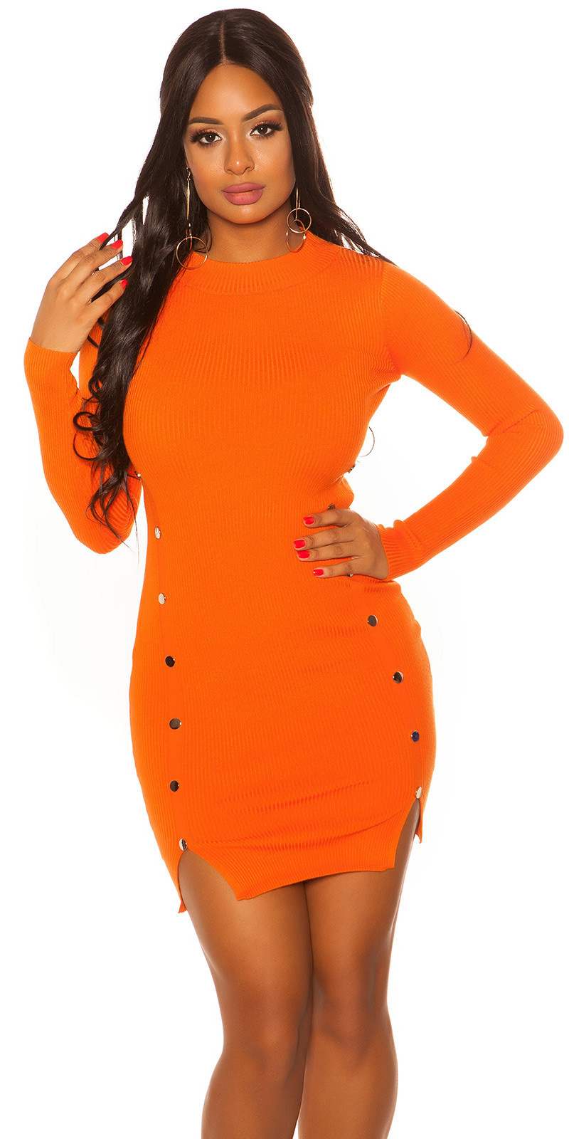 Sexy lange mouw gebreide jurk oranje
