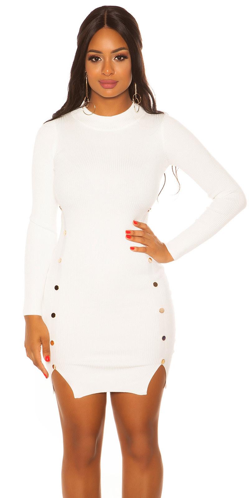 Sexy lange mouw gebreide jurk wit