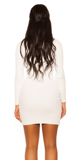 Sexy Longsleeve Knit dress White