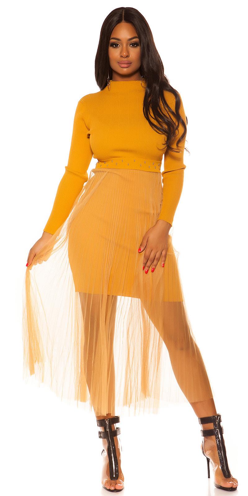 Sexy Rib Knit Dress with Chiffon overskirt Mustard