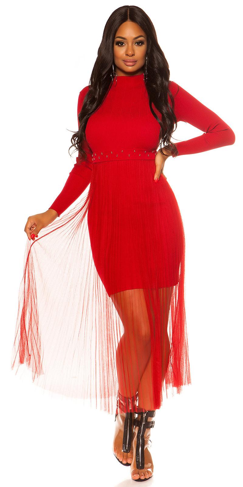 Sexy rib gebreide jurk met chiffon overrok rood