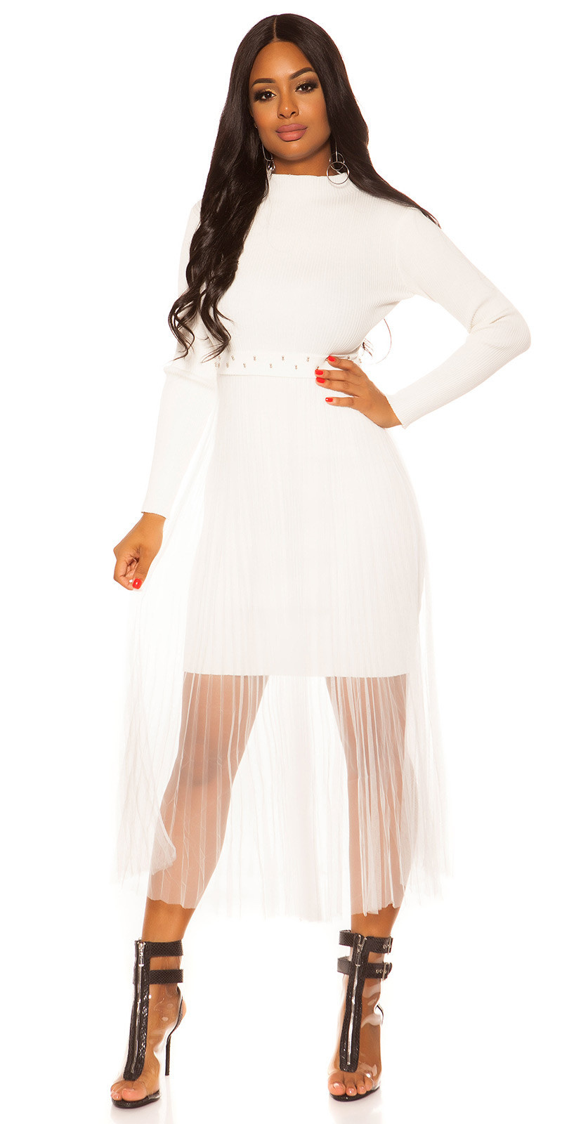 Sexy rib gebreide jurk met chiffon overrok wit