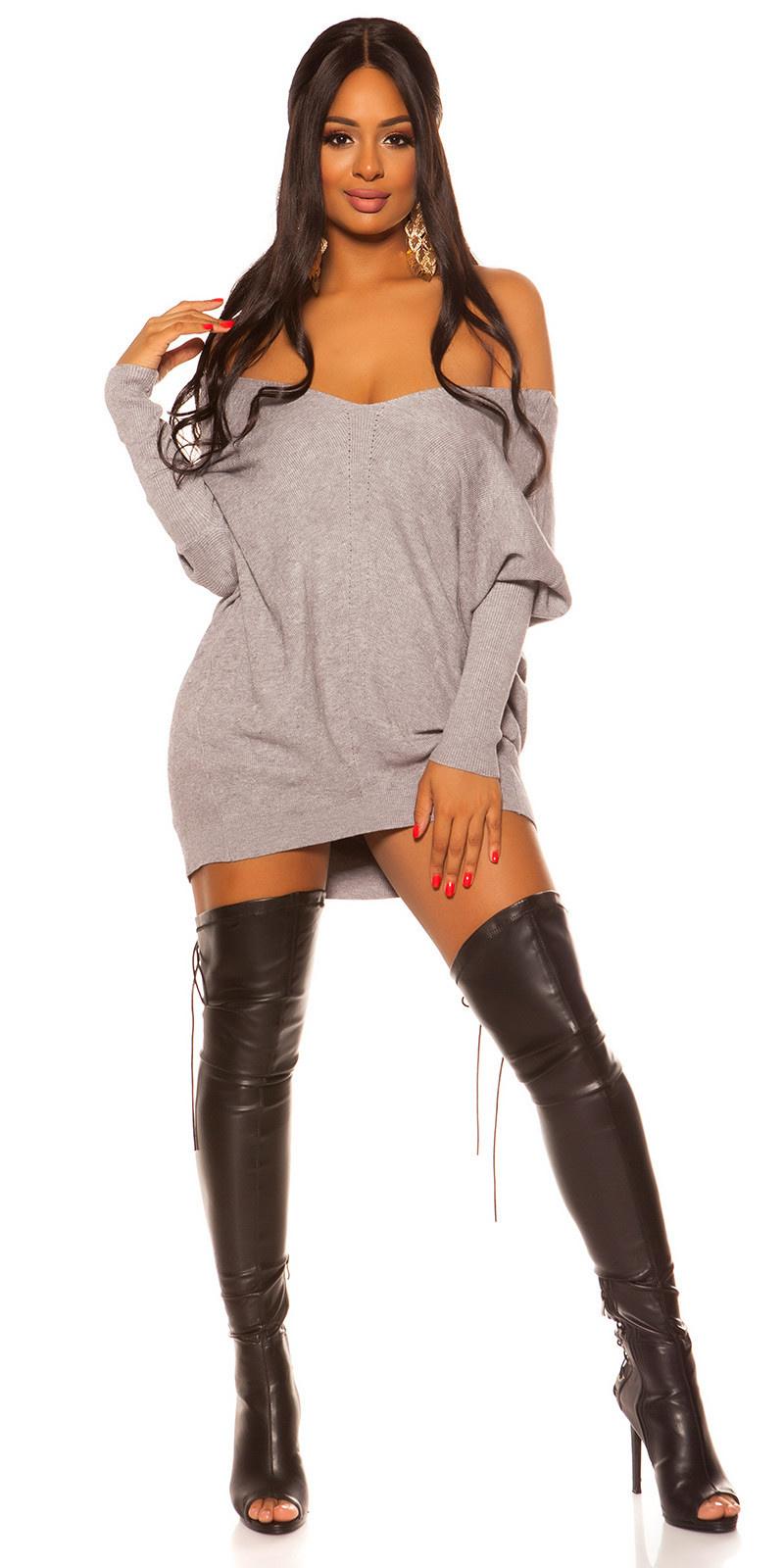 Trendy XXL knit dress with bow Grey