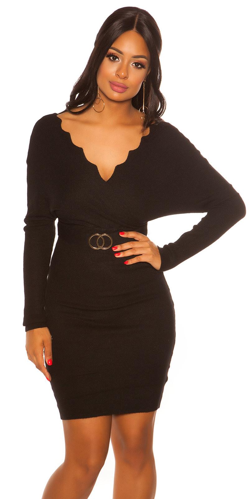 Sexy vleermuis mouw gebreide jurk zwart