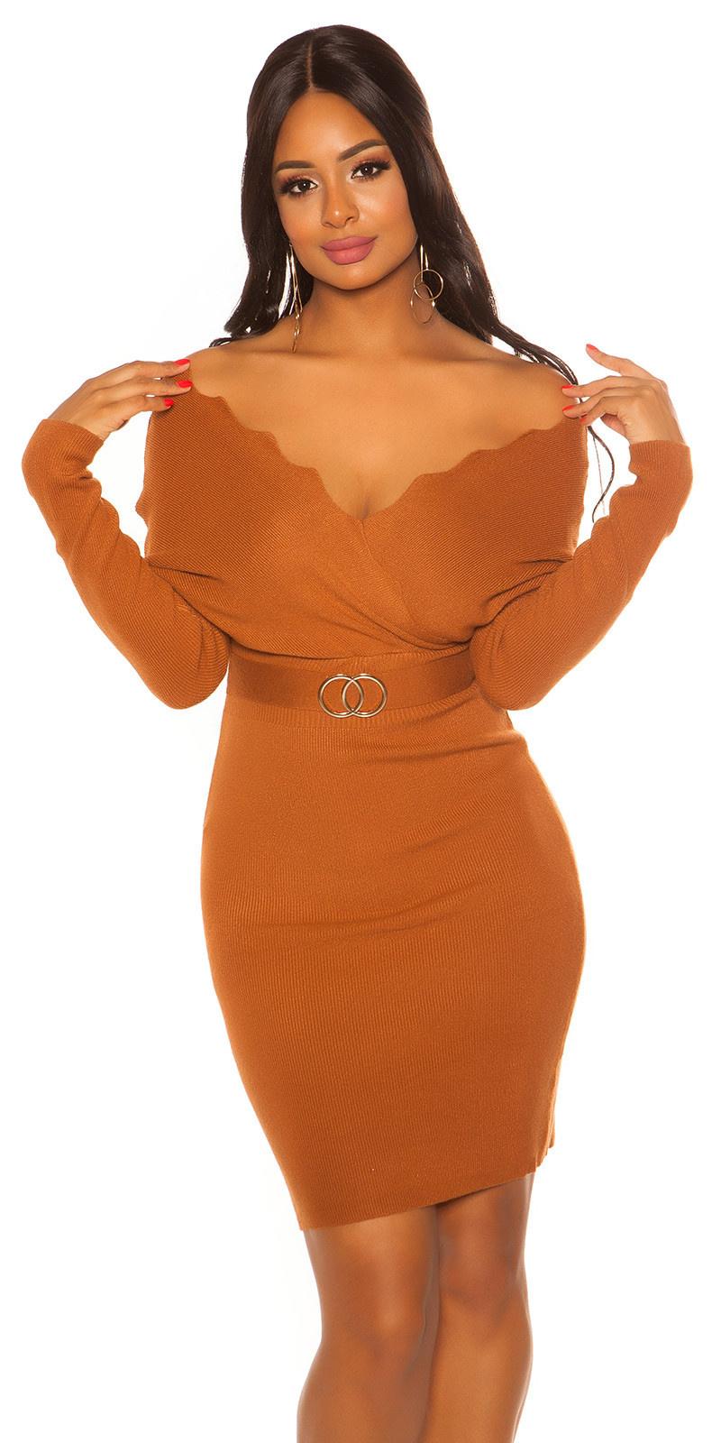 Sexy vleermuis mouw gebreide jurk camel