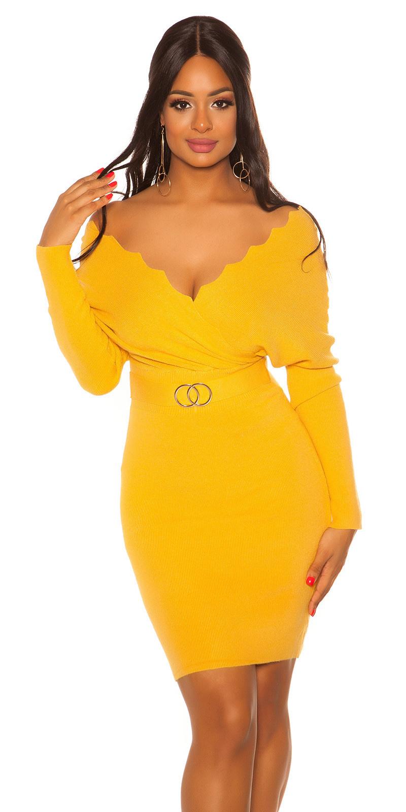 Sexy vleermuis mouw gebreide jurk mosterd-kleurig