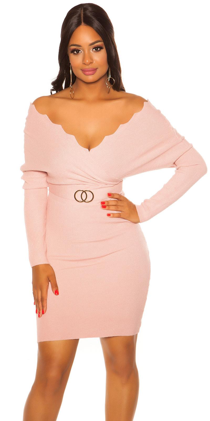 Sexy vleermuis mouw gebreide jurk roze