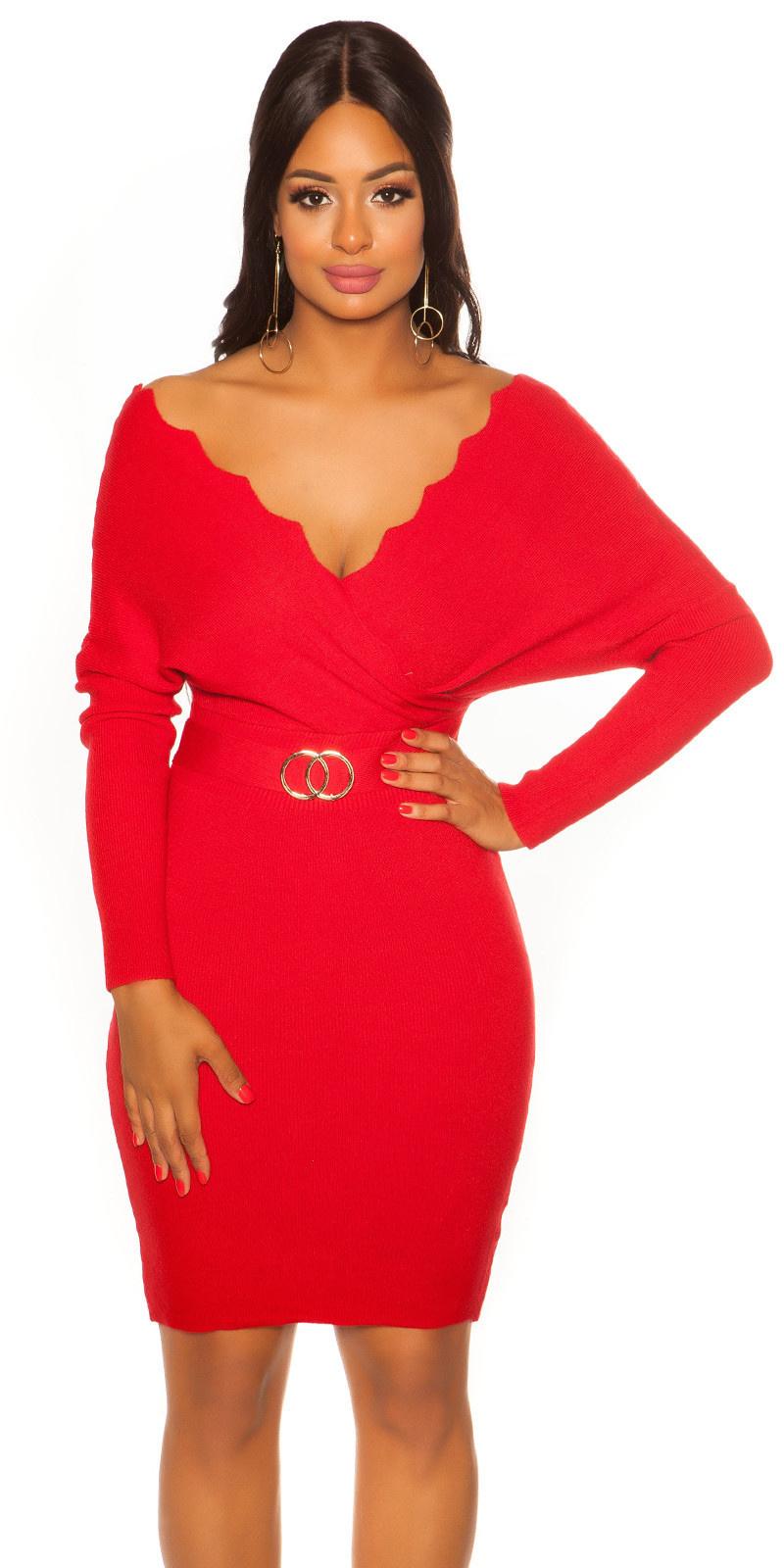 Sexy vleermuis mouw gebreide jurk rood
