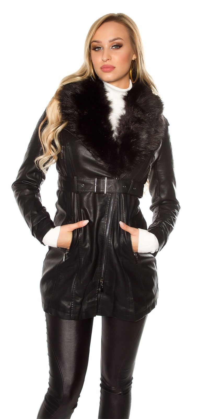 Trendy leatherlook coat with fake fur lined Black