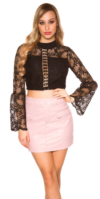 Sexy leatherlook mini skirt with pockets Antiquepink