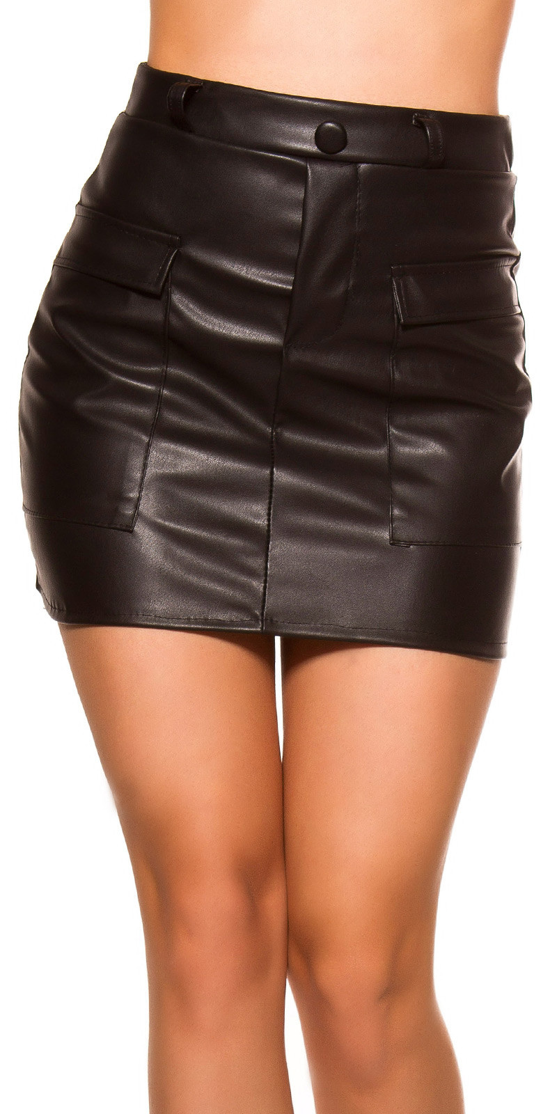 Sexy leatherlook mini skirt with pockets Black