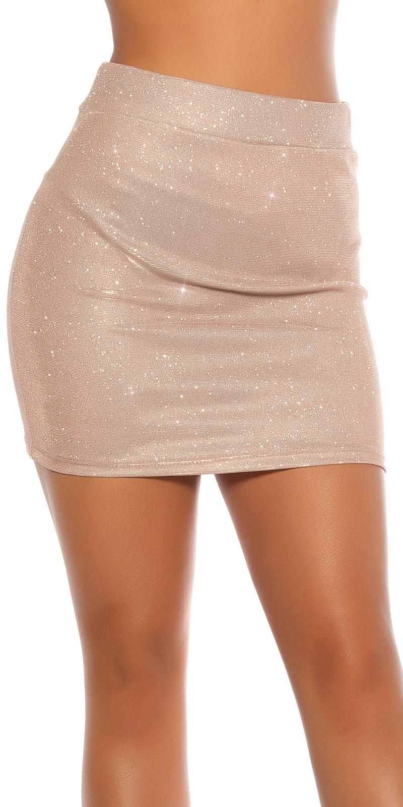 Sexy feest uitgaans glitter mini rokje goud
