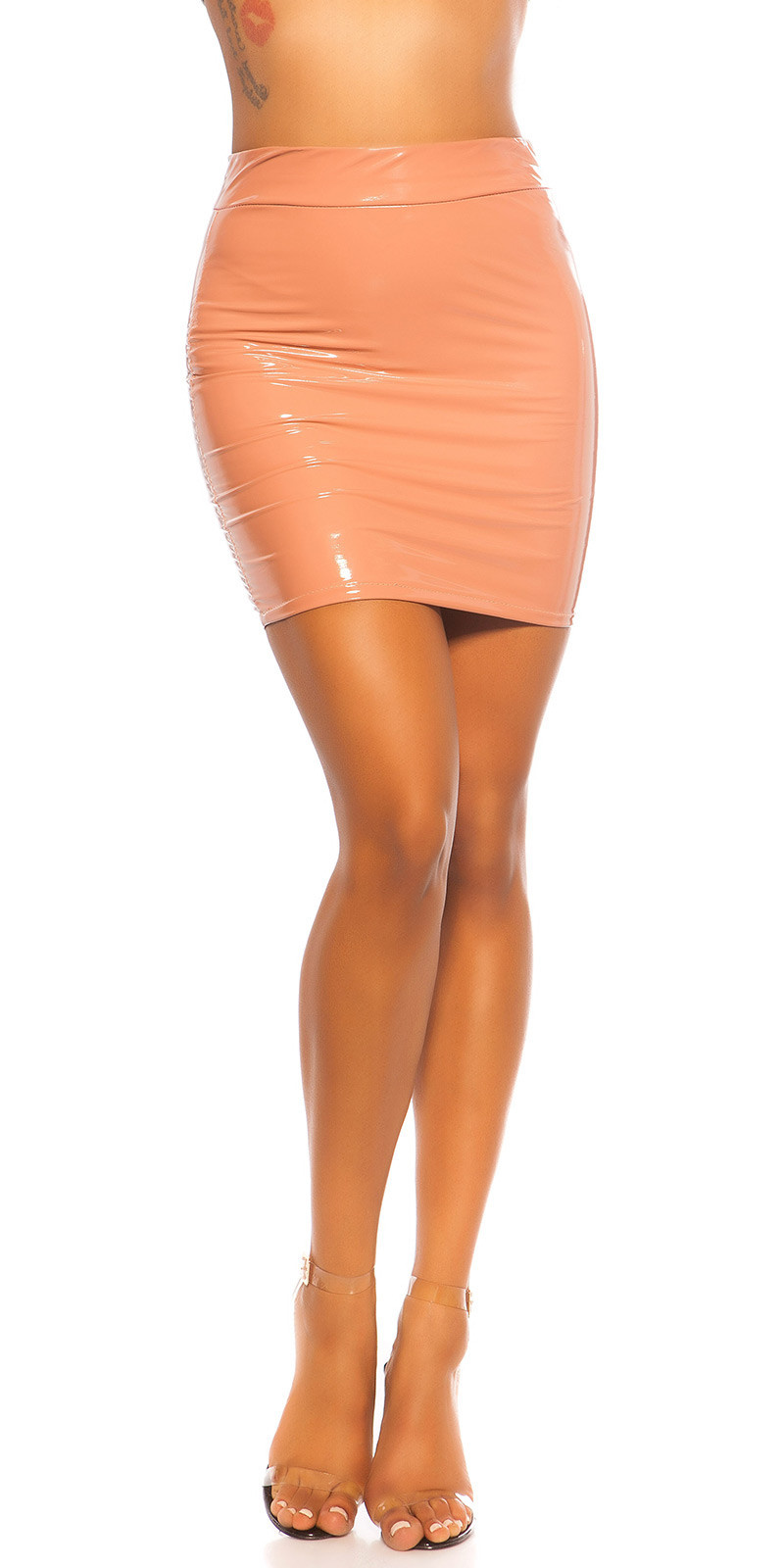 Sexy Latex Look Mini skirt Antiquepink