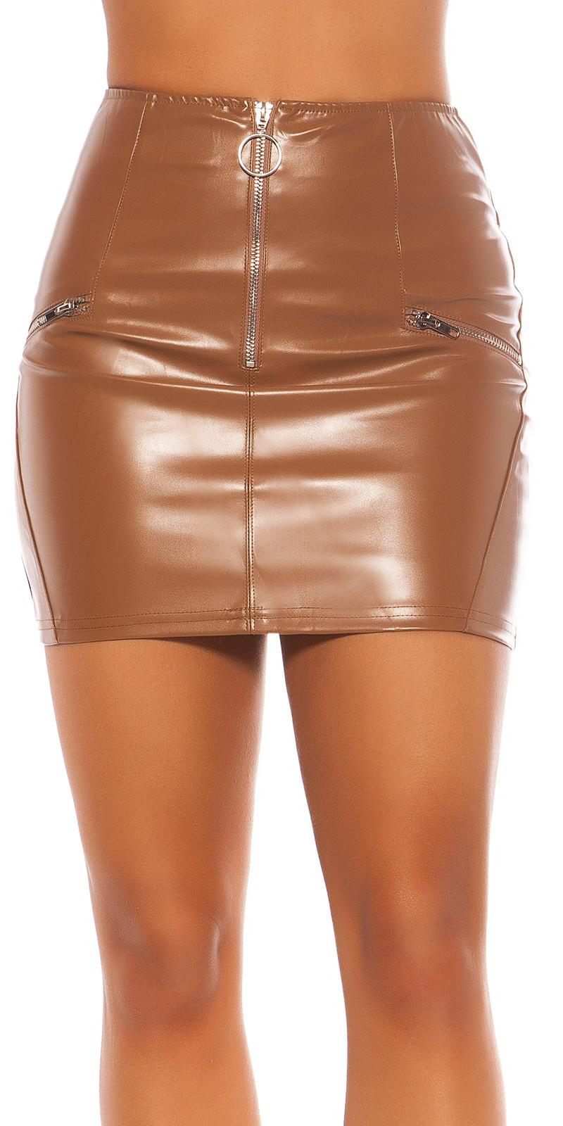 Sexy lederlook mini rokje met ritssluitingen bruin