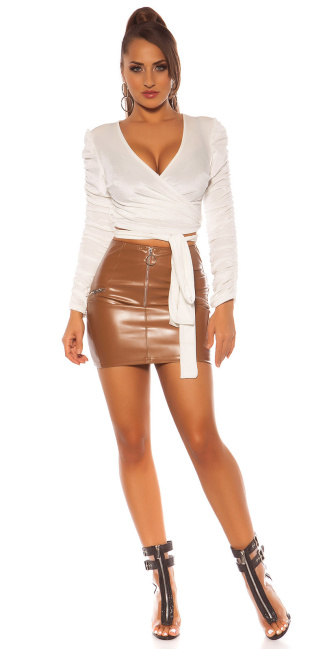 Sexy Leatherlook mini skrit with Zips Brown