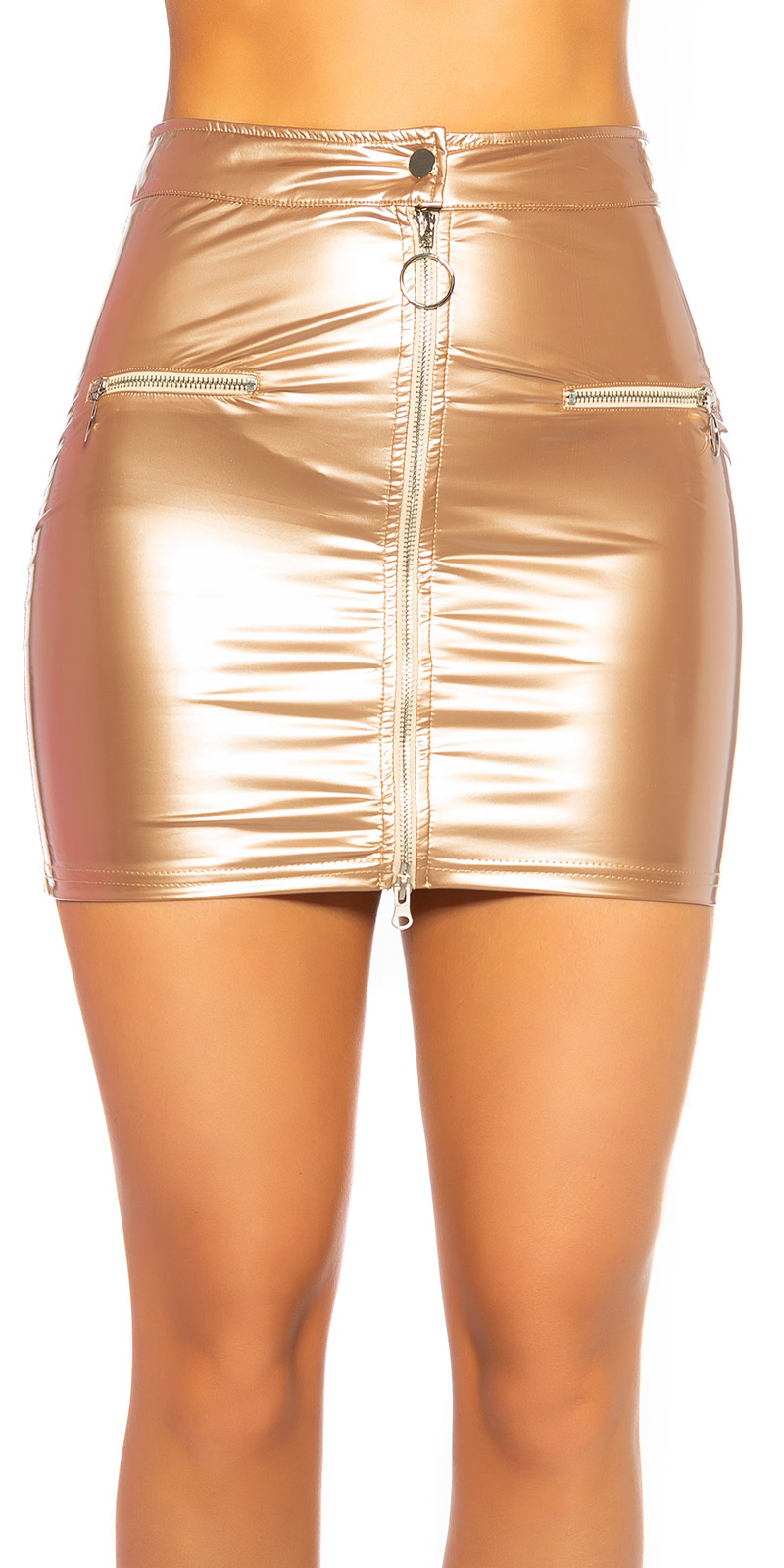 Sexy lederlook mini rokje met ritssluiting goud