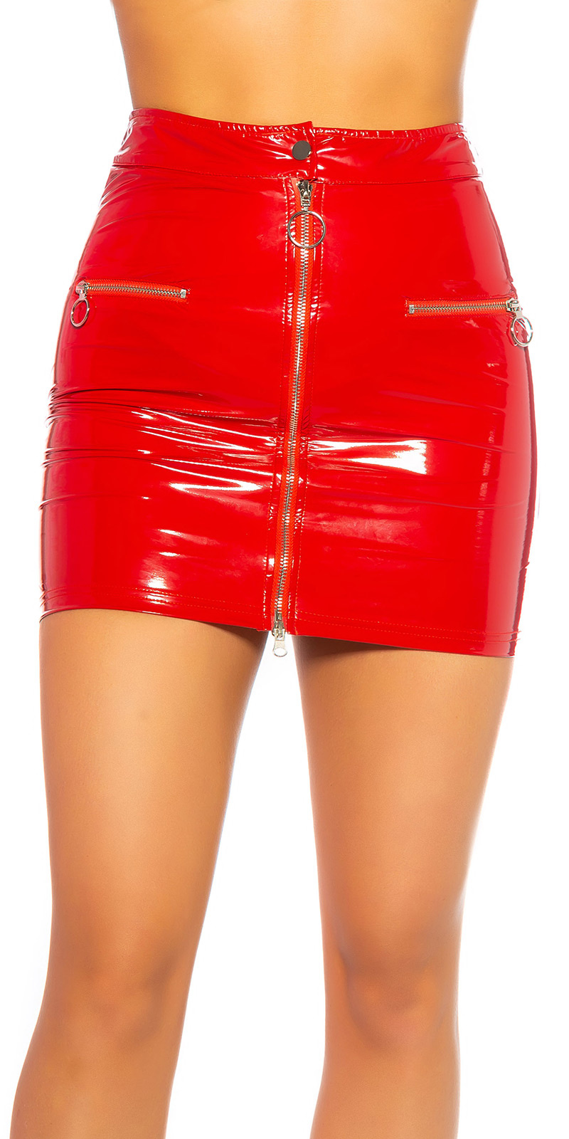 Sexy lederlook mini rokje met ritssluiting rood