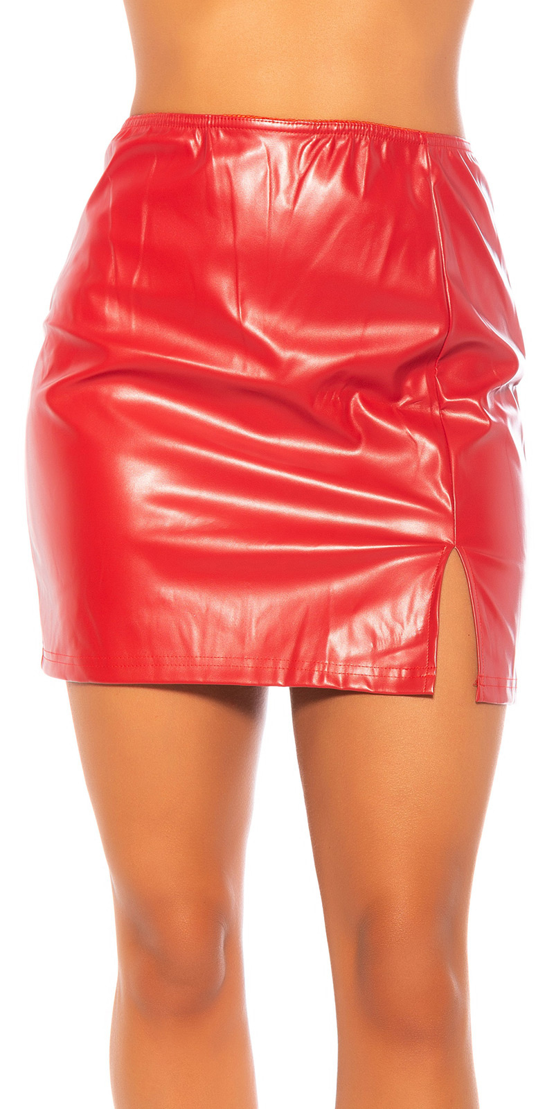Sexy leder look rok rood