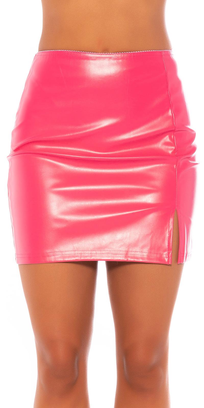 Sexy leder look rok roze