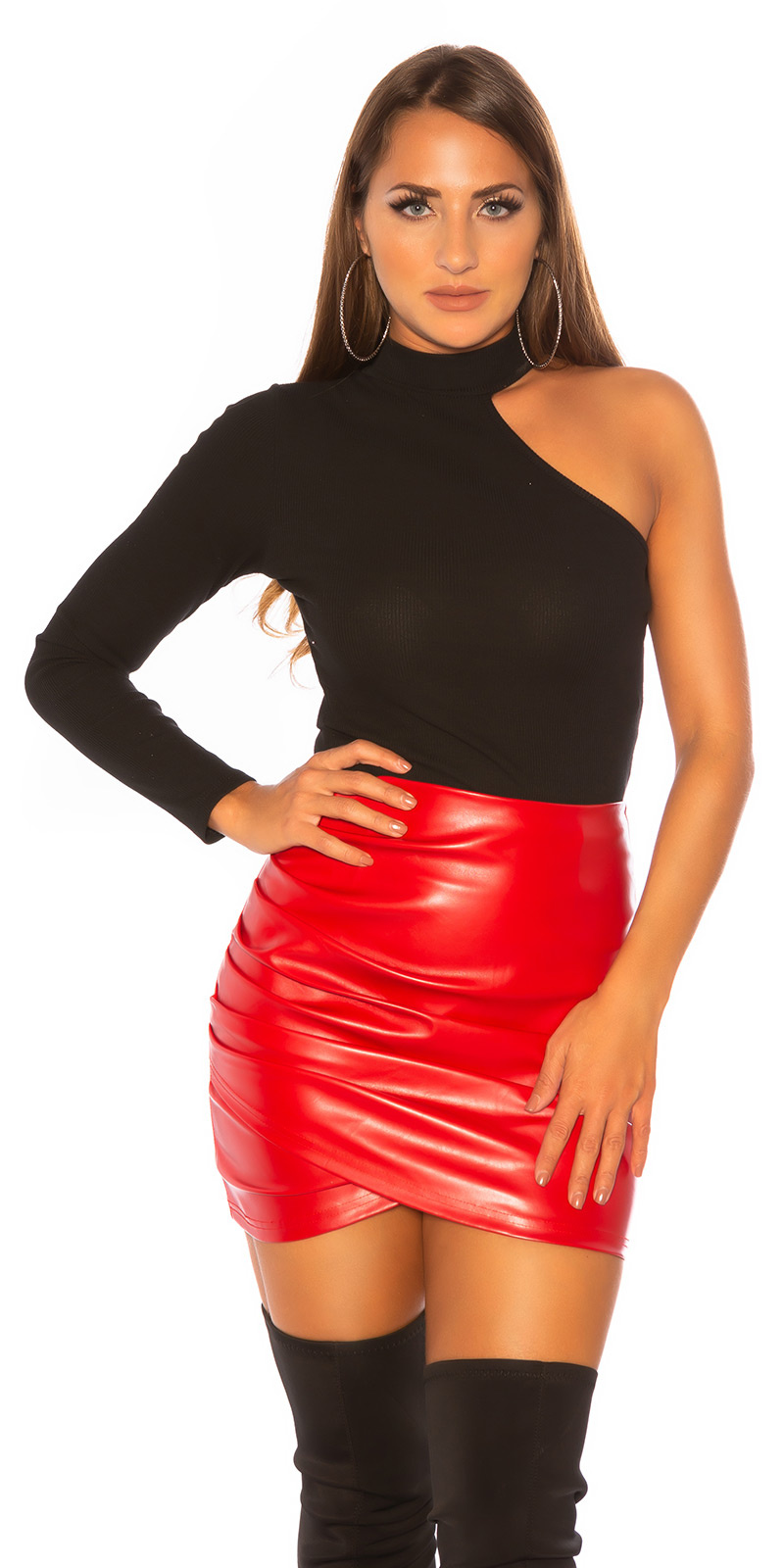 Koucla Leather Look Skirt Faux Leather Mini Skirt Ruffle