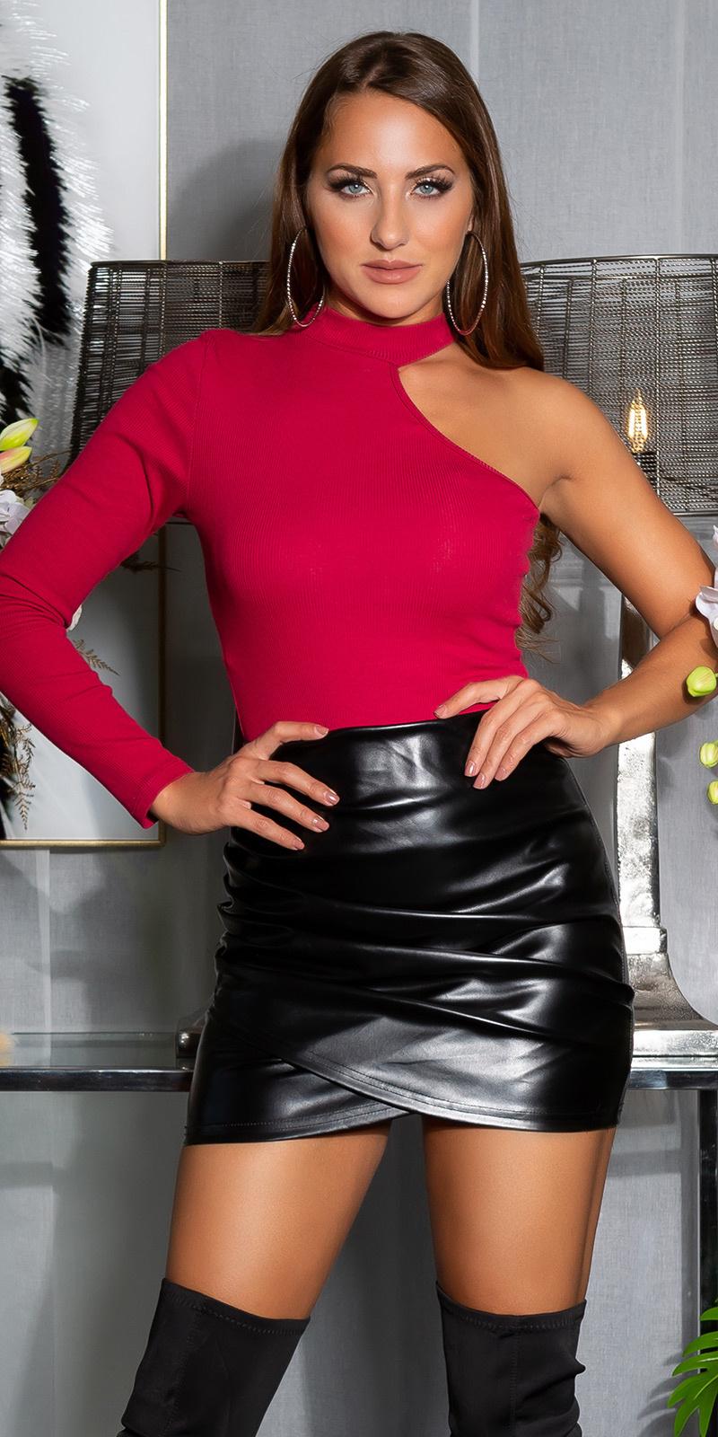 Sexy faux leder ruffled rok zwart