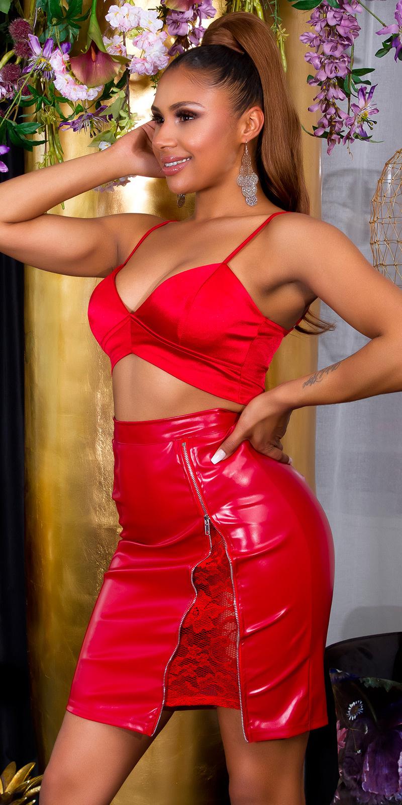 Sexy midi faux leder rok met ritssluiting en kant rood