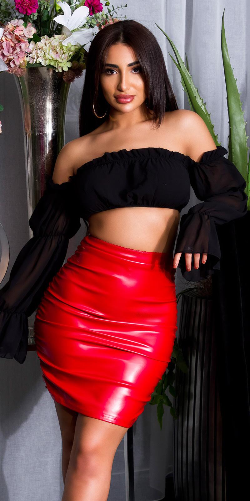 Sexy KouCla highwaist Ruffled Leather Look Skirt Red