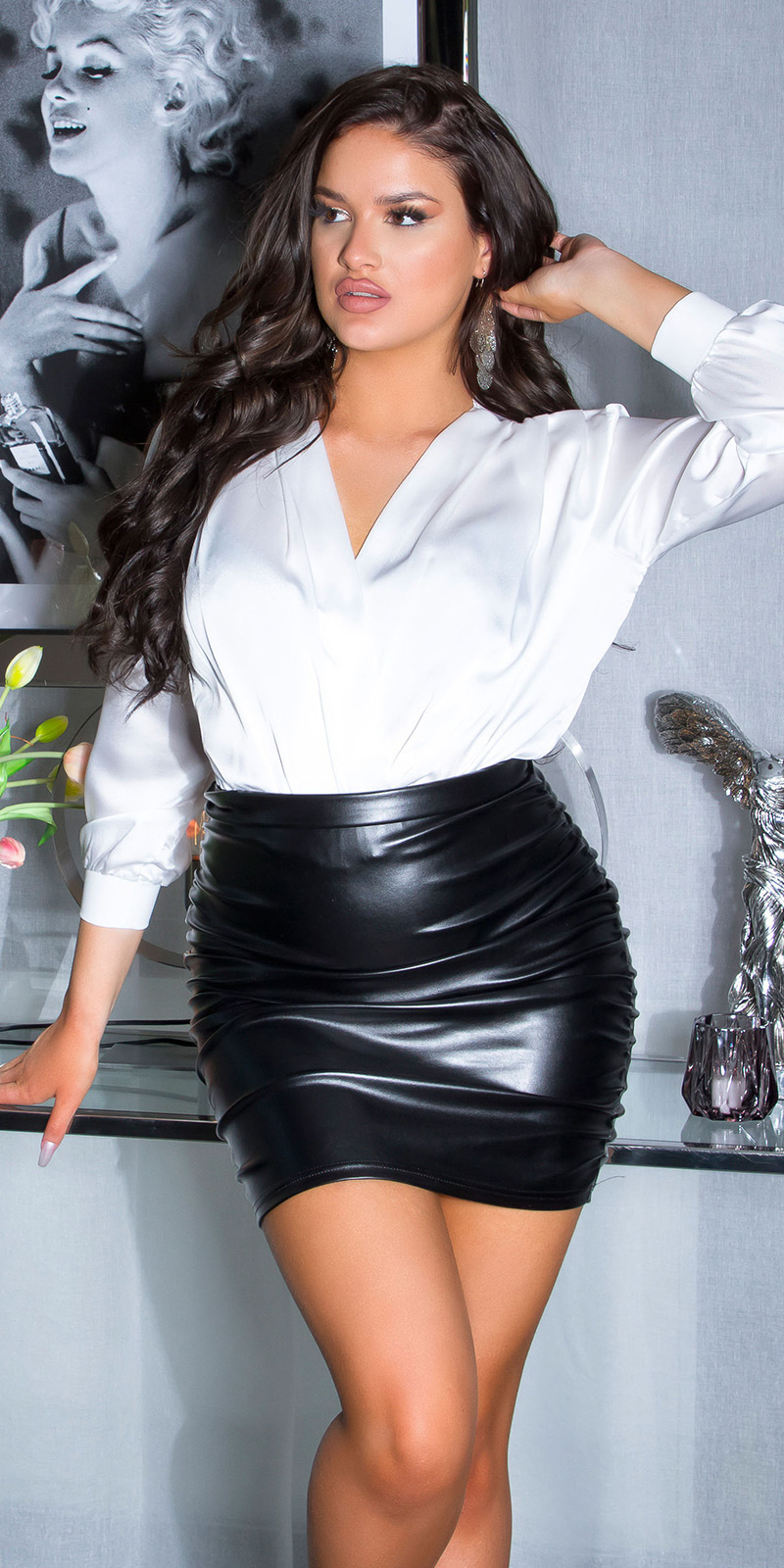Sexy hoge taille ruffled leder look rok zwart