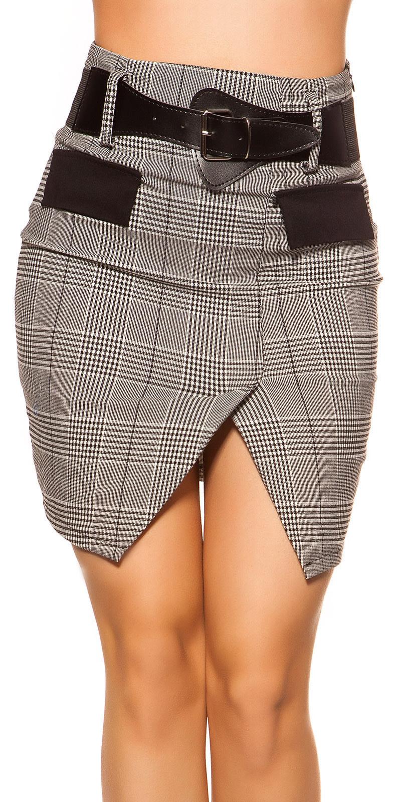 Sexy zakelijke uitstraling rok met riem zwartwit