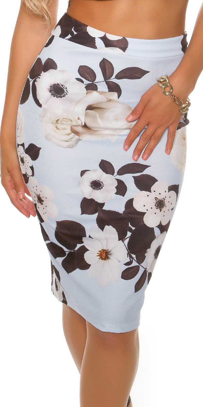 Sexy pencil skirt in floral print Babyblue