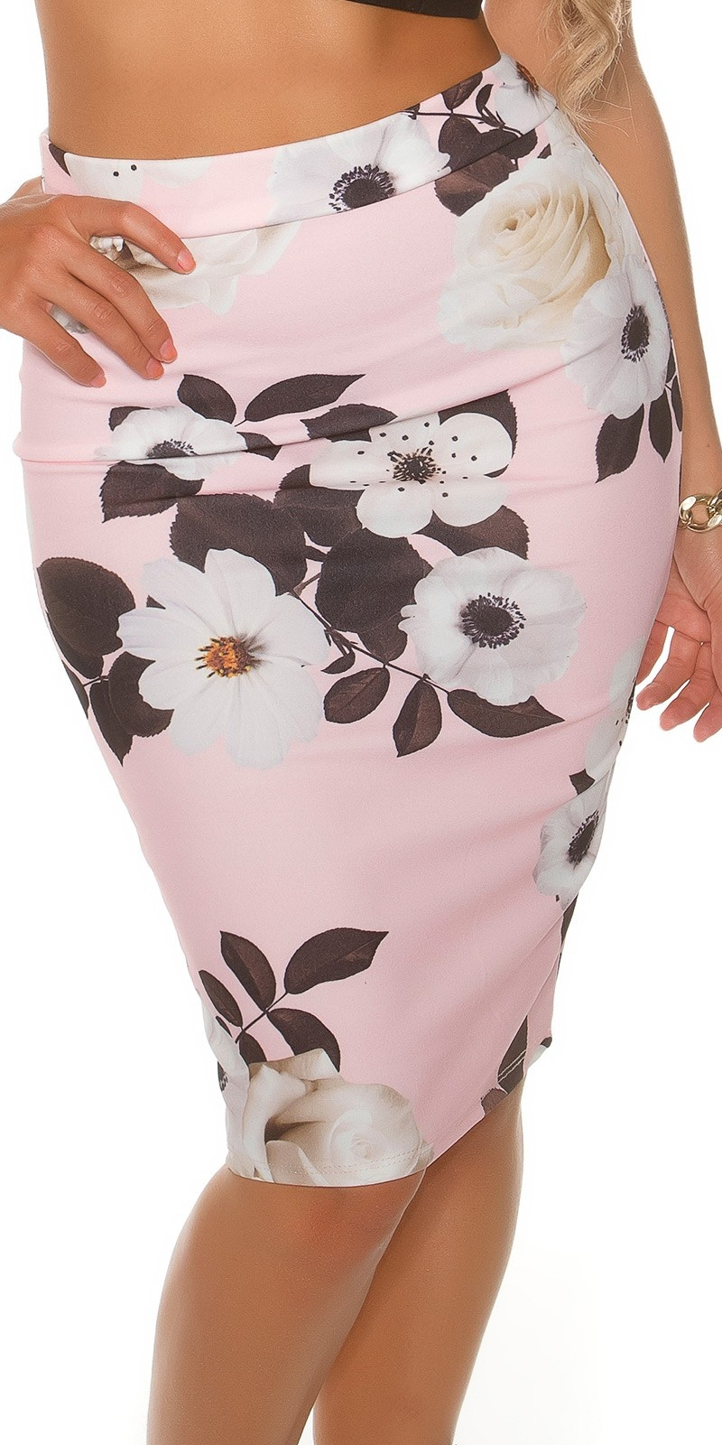 Sexy pencil skirt in floral print Pink