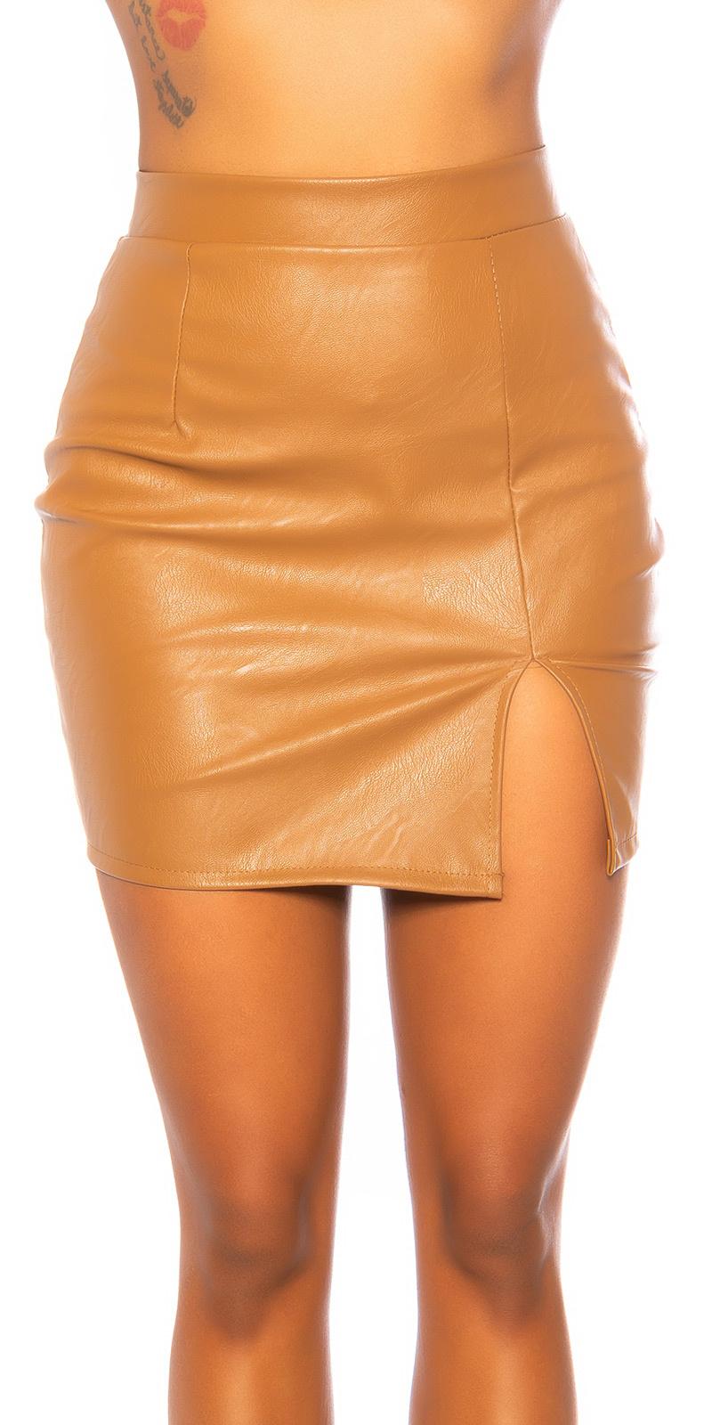 Sexy leder look rok met split bruin