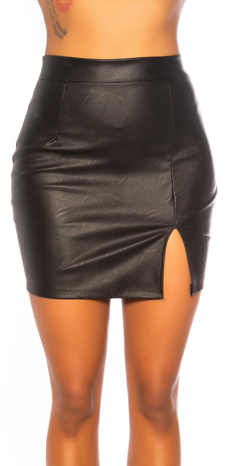 Sexy leder look rok met split zwart