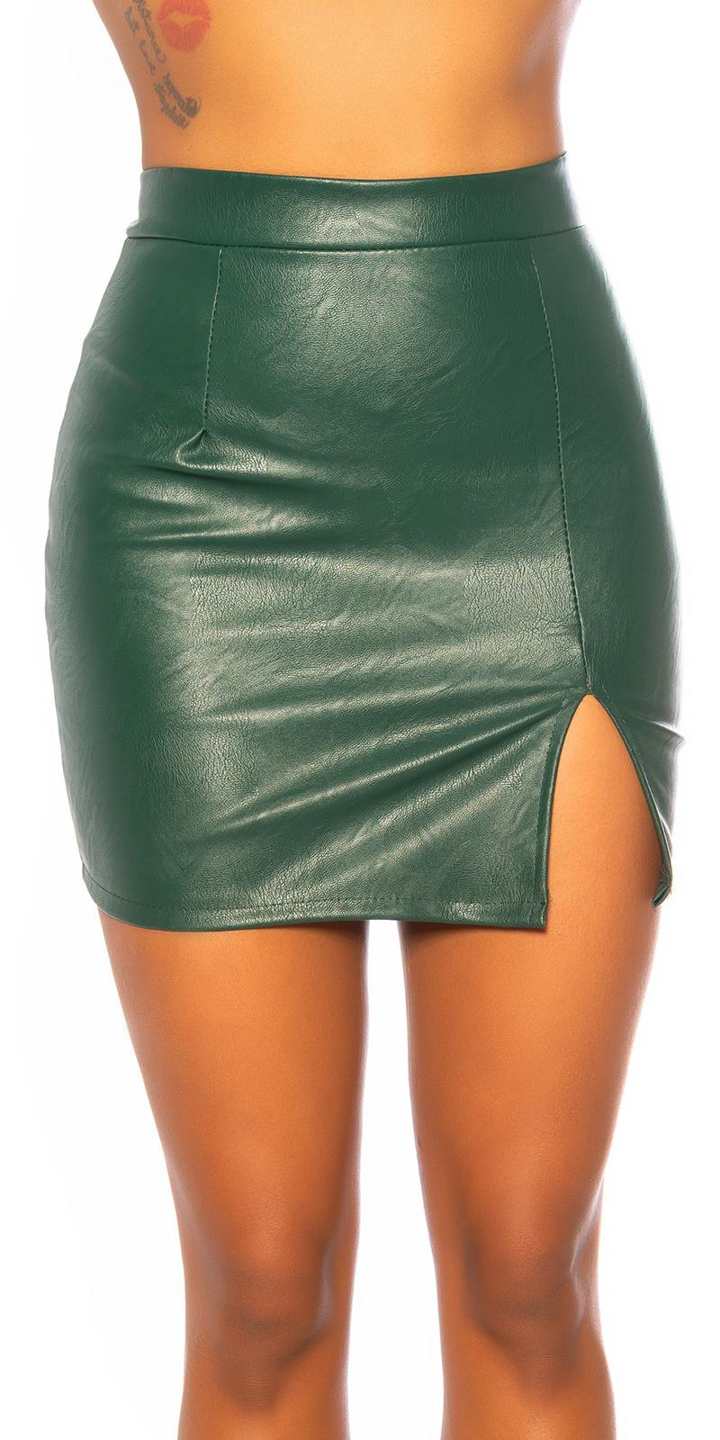Sexy leder look rok met split groen