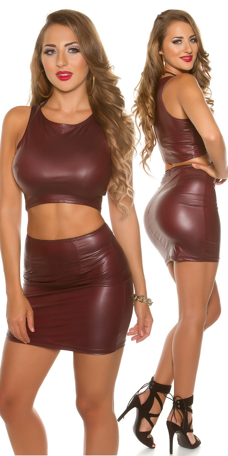 Sexy KouCla Wetlook Mini skirt Bordeaux