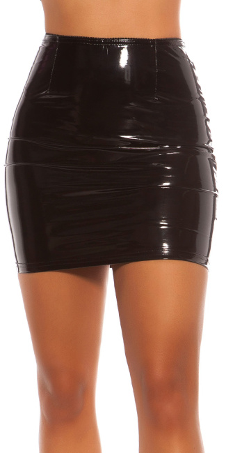 Sexy Koucla Latexlook mini skirt Black