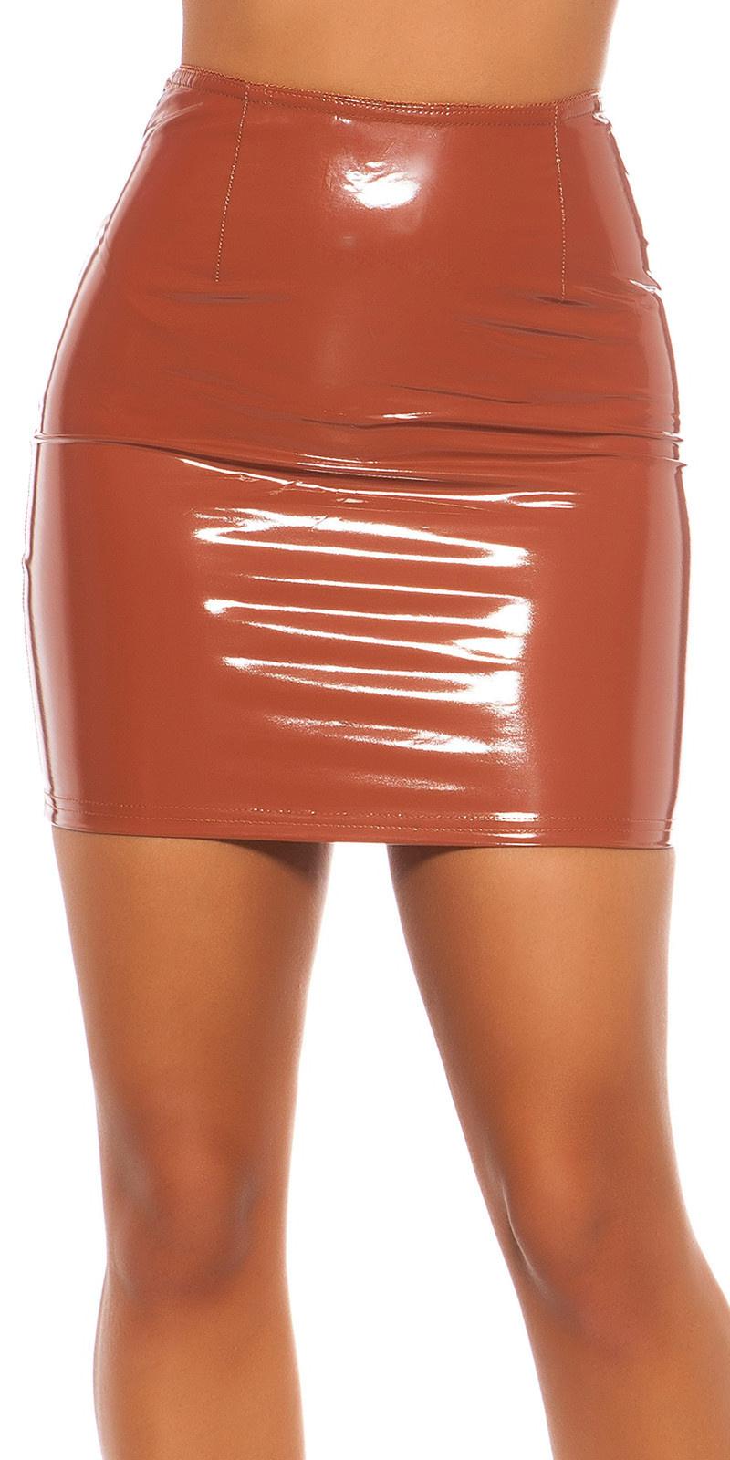 Sexy latexlook mini rokje rood
